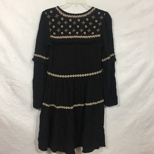 AEO Black Long Sleeve Embroidered Boho Dress XXS